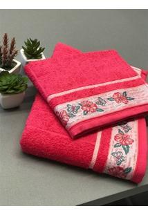 Kit Conjunto Toalha Banho E Rosto 02 Peças Jacquard Fj6187 - Pink