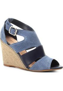 Sandália Anabela Couro Shoestock Mix Cores Feminina - Feminino-Azul