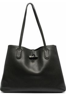 Longchamp Bolsa Tiracolo Roseau Grande - Preto