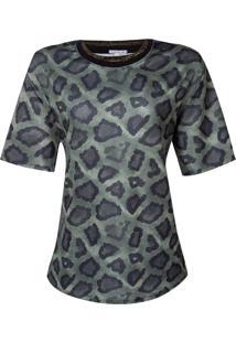 Blusa Dec Careca Retilinea Na Gola (Verde Escuro Estampado Animal Print, G)