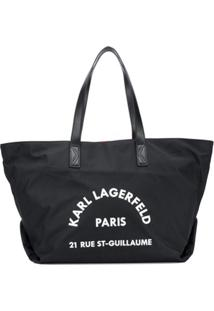 Karl Lagerfeld Bolsa Tote Com Estampa De Logo - Preto