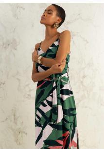 Vestido Em Tecido Com Alça Estampado Verde