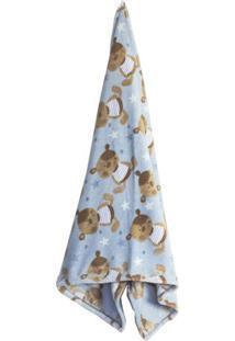 Cobertor Baby Estrela- Azul Claro & Marrom- 90X110Cmcamesa