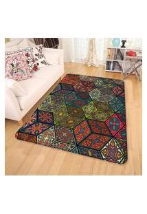 Tapete Sala Wevans Quadrados Geométricos Coloridos Único