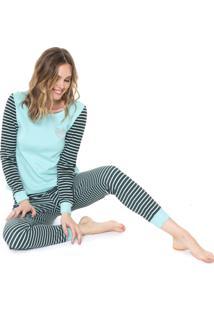 Pijama Malwee Liberta Listrado Azul/Preto