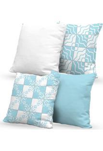 Kit 4 Capas De Almofadas Decorativas Own Mosaicos Azul Claro 45X45 - Somente Capa
