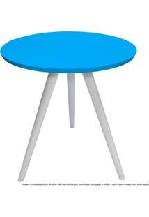 Mesa Lateral De Canto Tripé Laqueada Branca E Azul Turquesa