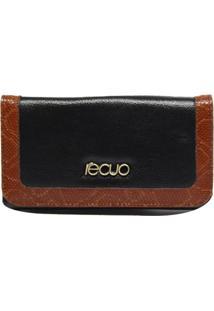 Carteira Recuo Fashion Bag Preto/Caramelo