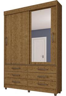 Guarda-Roupa Solteiro Com Espelho Chicago X 2 Pt 6 Gv Imbuia