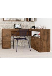 Mesa Para Computador Job Jatoba/Branco Fosco - Caemmun