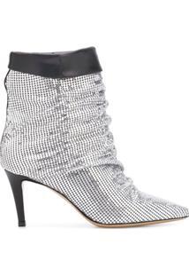 Pinko Ankle Boot Metálica - Prateado