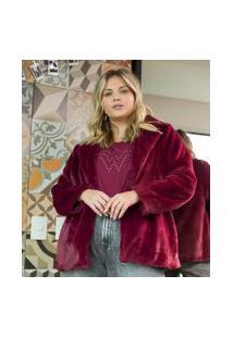 Casaco Peludo Curve & Plus Size | Ashua Curve E Plus Size | Vermelho | Eg