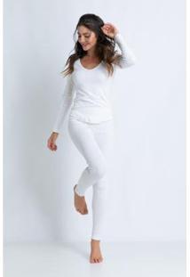 Conjunto De Pijama Acuo Longo De Ribana De Algodão Feminino - Feminino-Off White