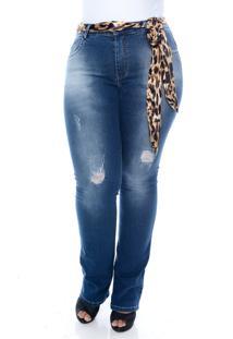 Calça Xtra Charmy Jeans Plus Size Flare Com Cinto Animal Print Azul