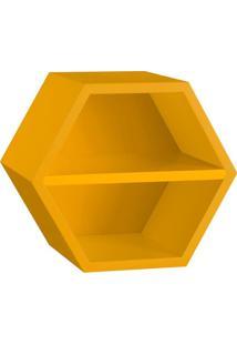 Nicho Hexagonal Favo Ii Com Prateleira Amarelo