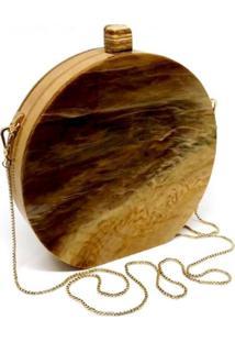 Bolsa Clutch Redonda Wood - Kanui