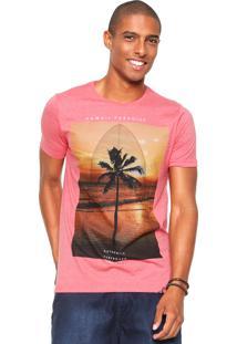 Camiseta Sideway Manga Curta Estampada Coral