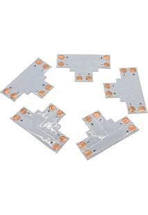 Kit De 5 Conectores Para Fita Led 10Mm - 2 Pinos Em T (Smd5050, 5630, 7020 E 7080) - Lms-K5C2Pt-10Mm