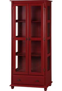 Cristaleira Isaac Com 2 Portas E Vidro Lateral - Vermelhavermelho