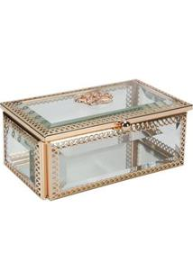 Porta-Joias Lyor Classic Crown Em Vidro E Zamac - Dourado