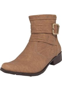 Bota Dafiti Shoes Fivela Cano Curto Marrom Claro