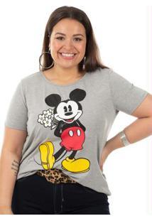 Blusa Estampada Com Relevo Cinza Disney