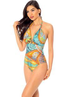 Maiô Mos Beachwear Sunny Isle Estampado Cameleão Mix