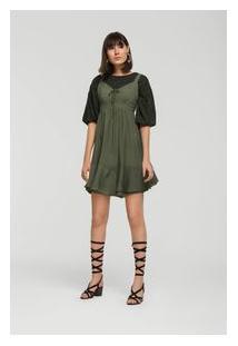 Vestido Curto Decote V Com Babado Verde Olivia G
