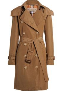 Burberry Trench Coat Com Capuz Removível - Marrom