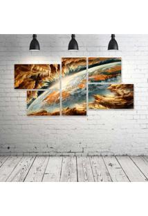Quadro Decorativo - Earth-Planet - Composto De 5 Quadros - Multicolorido - Dafiti