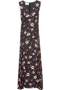 Prada Vestido Gola V Com Estampa Floral - Preto