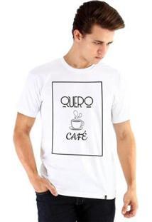 Camiseta Ouroboros Manga Curta Quero Café - Masculino-Branco