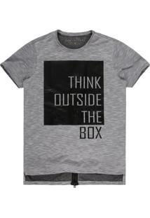 Camiseta Masculina Think Outside Com Zíper Off White