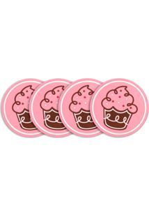 Toalha De Mesa 4 Lugares, 4 Porta Copos E Descanso De Mesa - Cupcake