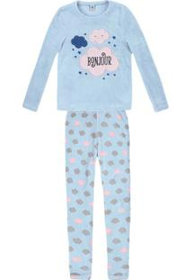 Pijama Feminino Longo Em Fleece Com Bordado
