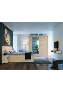 Quarto Casal Completo Com Guarda Roupa 3 Espelhos Cama E Cabeceira E Painel Para Tv Móveis Castro Nogueira