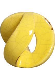 Escultura Decorativa Esfera Vazada Amarela 10 Cm