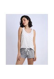Pijama Feminino Estampado De Corações Regata Branco