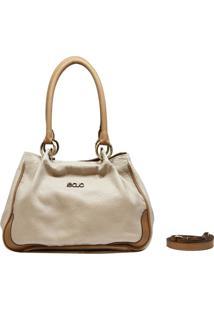 Bolsa De Couro Recuo Fashion Bag Baú Albany Cacau/ Ocre
