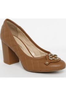 Sapato Tradicional Em Couro Matelassãª- Marrom Claro-Capodarte