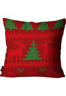Capa Para Almofada Mdecore Natal Rena Vermelha 45X45Cm