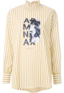 Armani Exchange Blusa Listrada Com Estampa - Amarelo