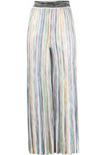 Missoni Calça Pantalona Com Listras - Branco