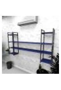 Estante Industrial Escritório Aço Cor Preto 180X30X98Cm (C)X(L)X(A) Cor Mdf Azul Modelo Ind49Azes