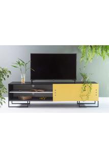 Rack Para Tv Preto Estilo Industrial Moderno Porta De Correr Amarela Pés De Metal Crosby 183X43,6X48,5 Cm