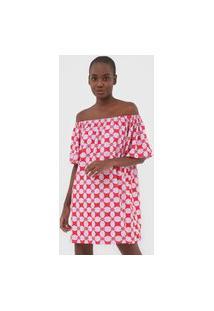 Vestido Colcci Curto Bordado Vermelho/Roxo