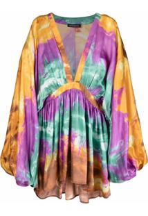 Wandering Vestido Tie Dye Com Pregas - Roxo