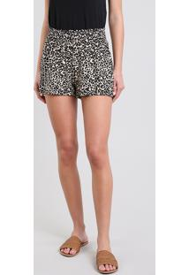Short Feminino Estampado Animal Print Bege
