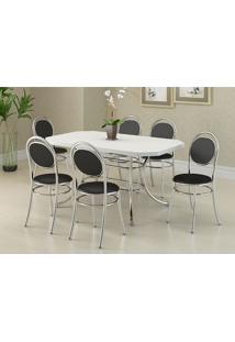 Mesa 1507 Branca Cromada Com 6 Cadeiras 190 Preta Carraro