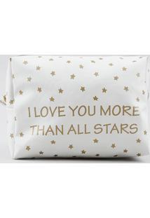 Nécessaire Estampada De Estrelas Off White - Único